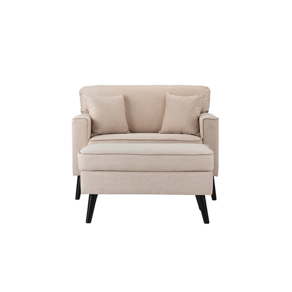 Linen Mid Century Modern Large Living Room Accent Chair