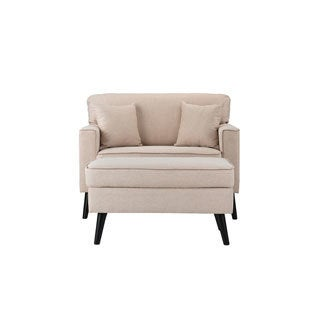 Mid-Century Modern Living Room Large Accent Chair with Footrest