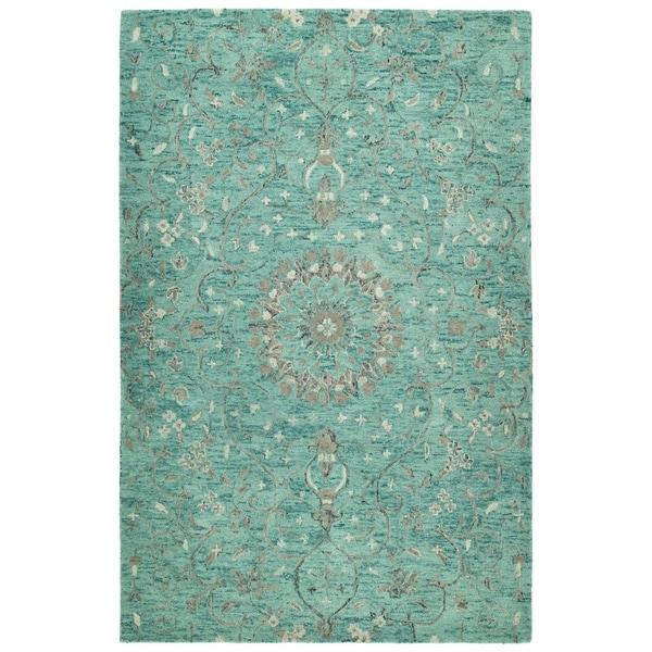 Hand-Tufted Ashton Turquoise Wool Rug - 10' x 14'