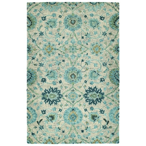 Bombay Home Ashton Turquoise Wool Hand-tufted Rug (9' x 12')