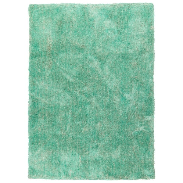 Hand-Tufted Silky Shag Turquoise Polyester Rug - 9' x 12'