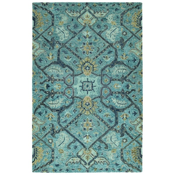 Hand-Tufted Ashton Blue Wool Rug - 10' x 14'