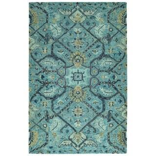 Hand-Tufted Ashton Blue Wool Rug - 10' x 14'