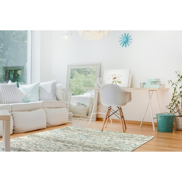 Handmade Hayden Turquoise Wool & Chenille Rug - 9' x 12'