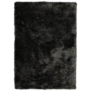 Bombay Home Black Silky Shag Hand-tufted Rug (9' x 12')