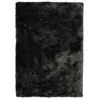 Hand-Tufted Silky Shag Black Polyester Rug - 9' x 12'