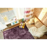 Hand-Tufted Silky Shag Lilac Polyester Rug - 9' x 12'
