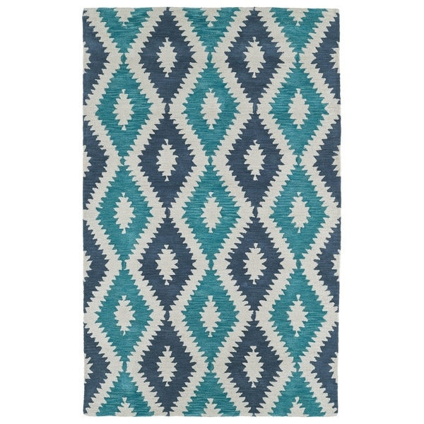 Hand-Tufted Copal Turquoise Wool Rug - 9' x 12'