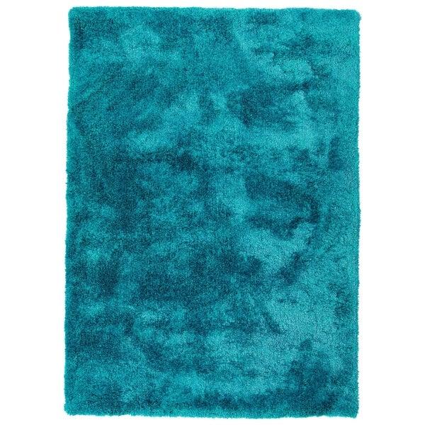 Hand-Tufted Silky Shag Teal Polyester Rug - 9' x 12'