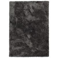 Hand-Tufted Silky Shag Charcoal Polyester Rug - 9' x 12'
