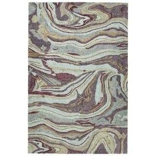 "Hand-Tufted Artworks Aubergine Wool Rug - 9'6"" x 13'"