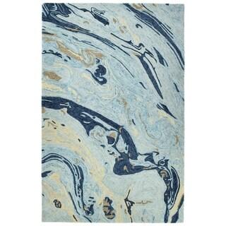 "Hand-Tufted Artworks Blue Wool Rug - 9'6"" x 13'"