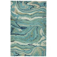 Hand-Tufted Artworks Teal Wool Rug - 9'6 x 13'