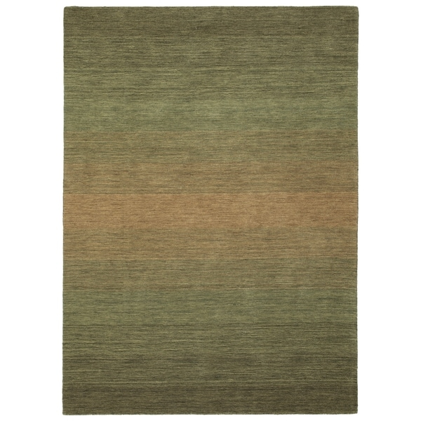 "Hand Made Blends Green Wool Rug - 9'6"" x 13'"
