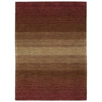 "Hand Made Blends Wine Wool Rug - 9'6"" x 13'"