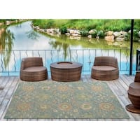 Indoor/Outdoor Hand-Tufted Robinson Blue Polyester Rug - 9' x 12'