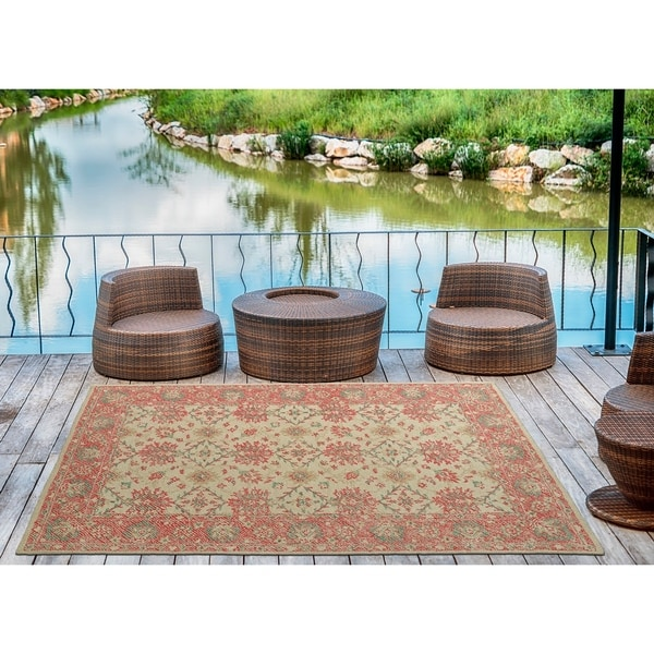 Indoor/Outdoor Hand-Tufted Robinson Watermelon Polyester Rug - 9' x 12'