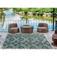 Indoor/Outdoor Hand-Tufted Robinson Teal Polyester Rug - 9' x 12'