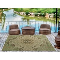 Indoor/Outdoor Hand-Tufted Robinson Green Polyester Rug - 9' x 12'