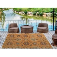 Indoor/Outdoor Hand-Tufted Robinson Orange Polyester Rug - 9' x 12'