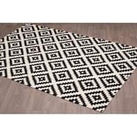 Stockholm Kilim Black Ivory Reversible Wool Rug - 5'x 8'