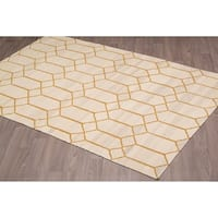 Stockholm Kilim Beige Gold Reversible Wool Rug - 5'x 8'