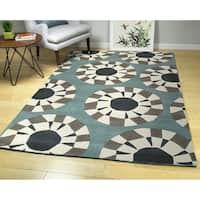 Hand-Tufted Zen Grey Wool Rug - 8' x 10'