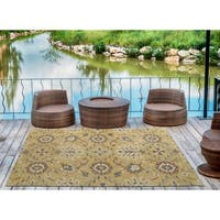 Indoor/Outdoor Hand-Tufted Robinson Gold Polyester Rug - 8' x 10'