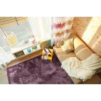Hand-Tufted Silky Shag Lilac Polyester Rug - 8' x 10'