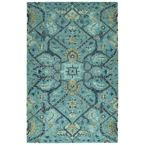 Hand-Tufted Ashton Blue Wool Rug - 8' x 10'