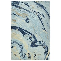 Hand-Tufted Artworks Blue Wool Rug - 8' x 11'