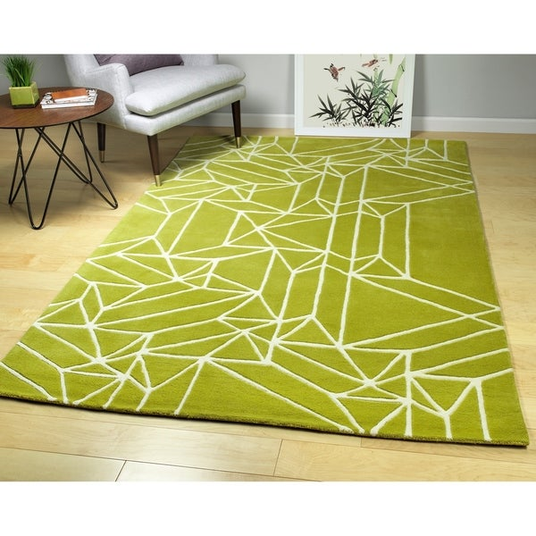 Hand-Tufted Zen Lime Green Wool Rug - 8' x 10'