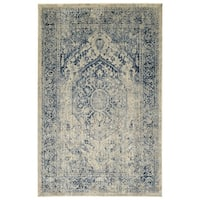 Bombay Home Loki Blue Distressed Floral Area Rug - 7'10 x 10'6