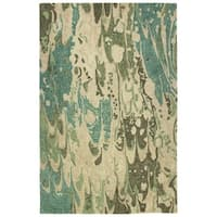 Hand-Tufted Artworks Green Wool Rug - 8' x 11'