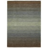 Hand Made Blends Brown Wool Rug - 7'6 x 9'