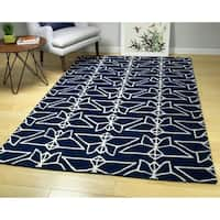 Hand-Tufted Zen Navy Wool Rug - 8' x 10'