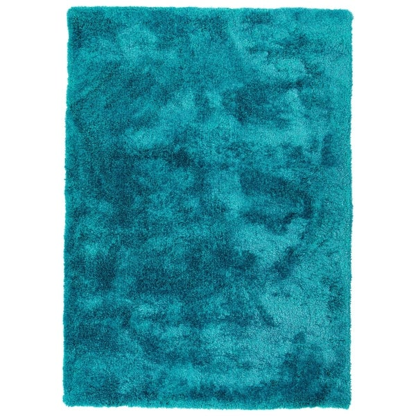 Shop Hand Tufted Silky Shag Teal Polyester Rug 8 X 10