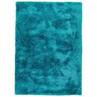 Hand-Tufted Silky Shag Teal Polyester Rug - 8' x 10'