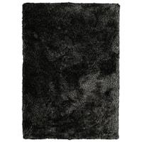 Hand-Tufted Silky Shag Black Polyester Rug - 8' x 10'