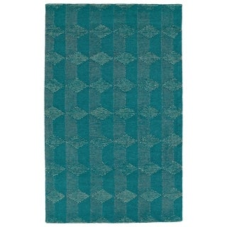 Bombay Home Homa Teal Wool Hand-tufted Rug (8' x 10')