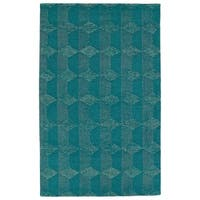 Hand-Tufted Homa Teal Wool Rug - 8' x 10'