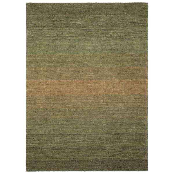 Hand Made Blends Green Wool Rug - 7'6 x 9'