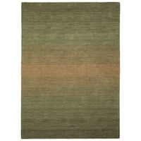 Hand Made Blends Green Wool Rug - 7'6 x 9'