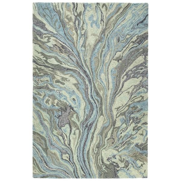Hand-Tufted Artworks Blue Wool Rug - 8' x 11'