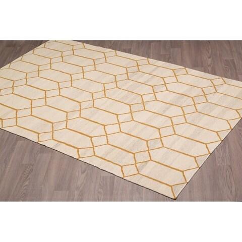 Stockholm Kilim Beige Goldtone Wool Reversible Rug