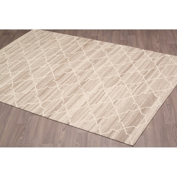 Stockholm Kilim Ivory Beige Reversible Wool Rug