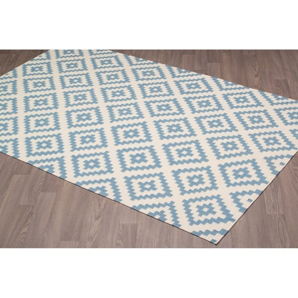 Stockholm Kilim Ivory Blue Reversible Wool Rug