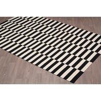 Stockholm Kilim Black Ivory Reversible Wool Rug