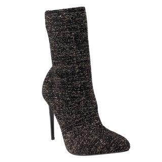 Beston EJ70 Women's Stretchy Sock Knitting Ankle High Stiletto Heel Booties