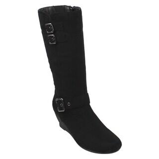 Beston EJ71 Women's Fashion Side Zipper Buckle Strap Mid-Calf High Wedge Boots